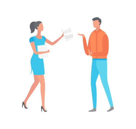 Woman giving paper with notes to man isolated cartoon characters. Businesswoman and manager discussing work problems, shedule document, flat style design