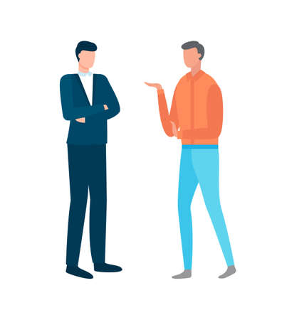 People working in business vector, discussion of partners with arguing, confident male and unsure person, employer and employee isolated males flat style
