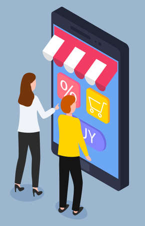Woman and man buying clothes or food through smartphone, online shopping app vector. Sale or discount, web payment and e-commerce, customers. Buying or purchasing goods, mobile gadget illustration