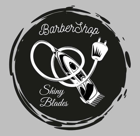 Barbershop logo, emblem with electrical hair clipper or shaver in vintage style vector illustration. Logotype for hairdressing salon with shiny blades lettering and shaver in white and black style