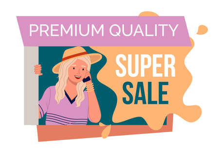 Premium quality super sale banner with beautiful blonde woman in hat talking with mobile phone. Discount poster template. Big sale special offer. End of season special proposition banner flat style 向量圖像