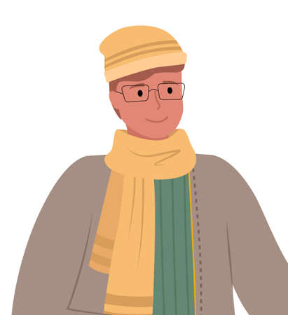 Man wearing warm clothes and glasses, isolated character with modest expression on face. Person standing outside in cold weather. Seasonal clothing worn by male personage, vector in flat style