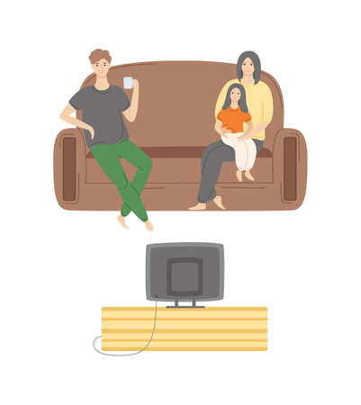 People at home spending time together vector, man and woman sitting on comfortable soft sofa, male drinking hot beverage from cup, family day Çizim