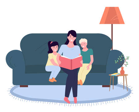 Mother reading a story to children, happy family, fairy tale, vector graphics. Child care, parenting. Mom sitting with son and daughter on the sofa in the room and reading a book, bedtime story  イラスト・ベクター素材