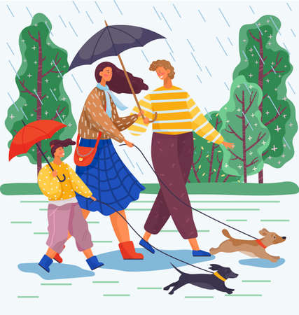 Happy family day walk with dogs in the park. Mom, dad and their daughter go out for a walk in the rain with the dogs and take umbrellas with them. Terrible lousy rainy weather during family weekend Ilustracja