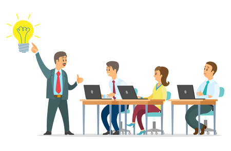 Best business idea vector illustration. Team leader presents an idea. People office workers generate development activities and ideas. Marketing strategy concept, business team develops solutions