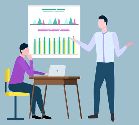 Business analytics discussing financial issues, brokers collaboration. Vector manager sitting at table with laptop, coworker pointing on board with graphs and charts