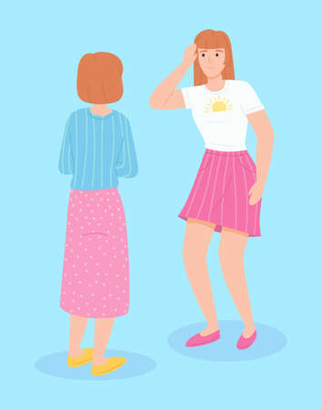 Meeting of two women. Female character complains of a headache, shows a hand on a sore head flat vector. Medical consultation between doctor and her patient or daughter complains about pain to her mom