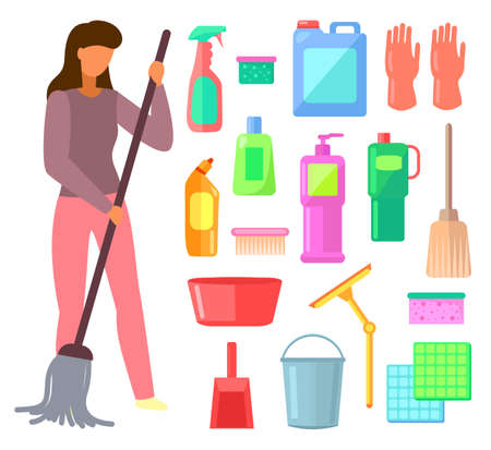 Group of bottles of household chemicals, supplies and cleaning, tools and containers for cleaning. Set of plastic flasks from chemical detergents, mops, buckets, basins, brushes and woman housewife