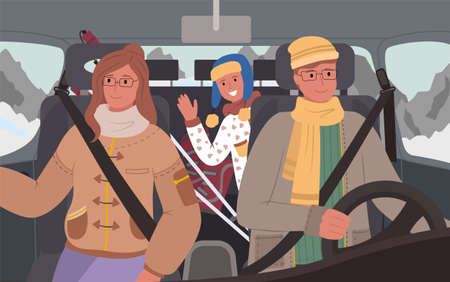 Mother and father with child driving in winter, passing mountains and frosty locations. People in vehicle on vacation. Family traveling together in cold season. Man and woman on journey vector 矢量图像