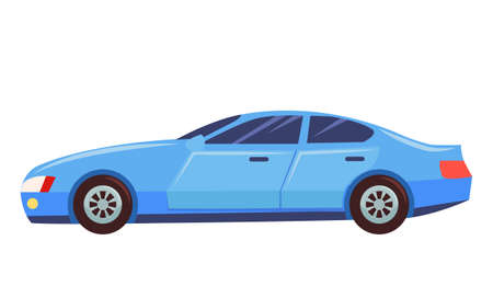 Blue car isolated on white background. Sedan with dark toned glasses. Auto to drive and get your destination quickly. Wheeled motor vehicle used for transportation. Vector illustration in flat style Illustration