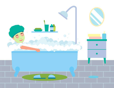 Woman bathing in blue bathtub in white bathroom. Female character takes a bath with soapy foam. Girl is relaxing, takes care of herself, makes a face mask, relaxes with lather in the bathroom