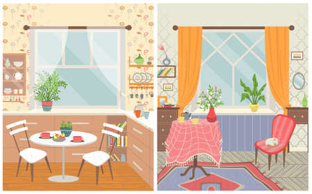 Home interior vector, room for eating and spending time. Table with chairs and food, kitchen and lounge. Armchair with sleeping cat flat style set Çizim