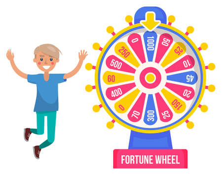 Game fortune wheel concept. Man playing risk game with fortune wheel and lottery. Casino and gambling. Illustration of casino fortune, wheel winner game. Man won, joyfully raised his hands up and jump