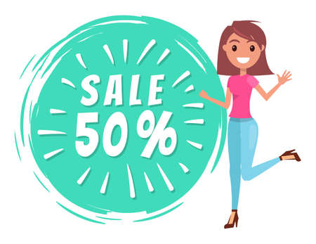 Cheerful young woman sale vector banner clearance sale with percent, promotional discounts. Smiling girl with happy face expression jumping waving hand and hot sale lettering in a round green shape