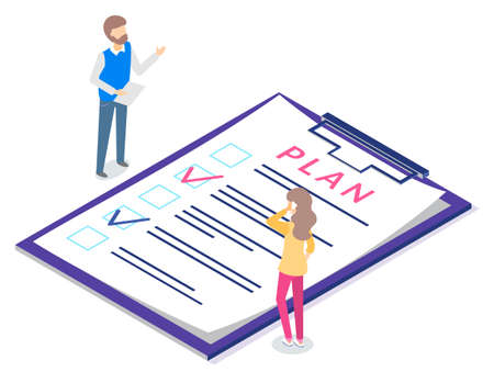 People planning workflow, man and woman organizing work tasks. Male holding document, female talking on phone discussing details on smartphone. Filling form with done marks, vector in flat style