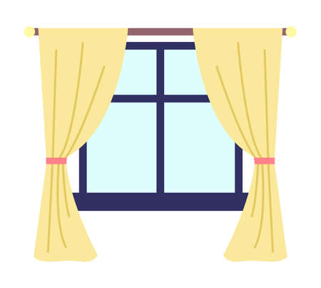 Illustration of living room window with yellow curtains and dark blue window frame and windowsill vector illustration. Inside view of the interior apartment with daylight , curtains hang on a cornice