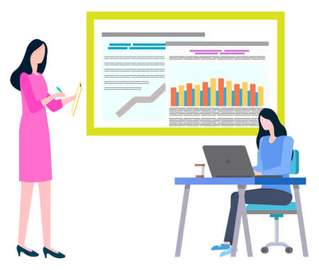 Trade agents in investment company making notes on notebook, e-board with statistics of sales and trades. Vector managers financial analytics isolated