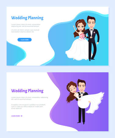 Wedding planning vector, bride and groom on special day dancing together and standing with bouquet of flowers. Woman and man in love set. Website or webpage template, landing page flat style