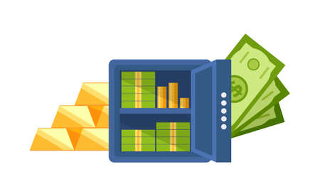 Strongbox filled with money vector, isolated banknotes and coins on shelves, gold bars wealthy financial assets, profit and saving in bank account