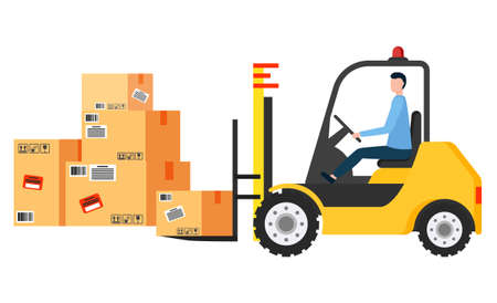 Forklift machine with man driver load and unload packages. Powered industrial truck used to lift and move containers on storehouse. Many cardboard boxes in warehouse. Vector illustration in flat style