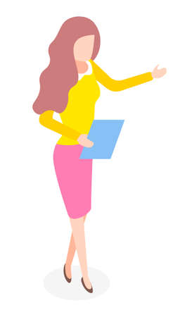 Elegant stylish businesswoman wearing yellow shirt, pink skirt, shoes. Business lady style. Dresscode of office worker. Pretty brown-haired woman with documents or folder in hand. Portrait isometric