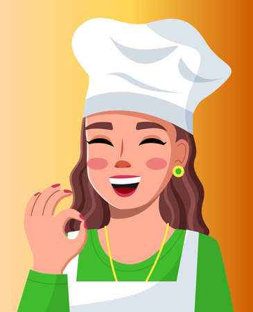 Young beautiful woman cook in cook hat smiles and shows OK. Makeup, red polish, well-groomed young woman. Cooking online, blogging, food satisfaction. Blogger, streamer, model. Flat vector image Illusztráció