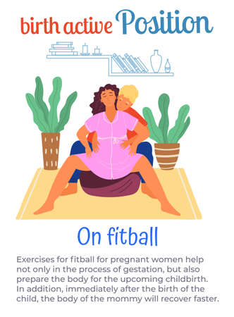 Birth active position on fitball, man help pregnant woman during birth pains, female with belly spread legs wide, comfortable posture for birthing, useful poster or banner with text information