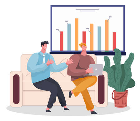 Confident smiling businessmen sitting at sofa with laptop, discussing project. Presentation at digital board at wall. Visualisation of strategy, plan, finance growing. Office interior with houseplant