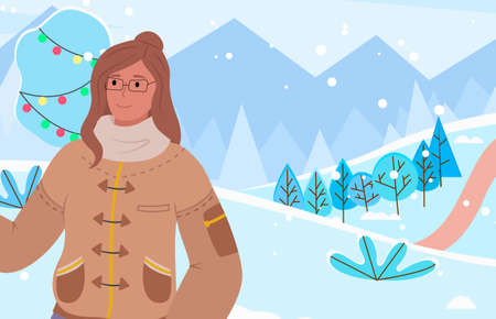 Female character on vacation in winter park decorated for christmas and holidays. Woman wearing warm clothes and glasses spending time outside. Wintry landscape with mountains vector in flat
