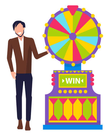 Man wearing formal clothes showing lucky combination vector, isolated character with game machine. Fortune wheel with colored segments gambling male