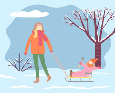 Mom and kid spending weekends in winter park. Female character pulling sleds with daughter playing with toy spade. Landscape with dry trees and bushes covered with snow. Wintry day vector in flat Vettoriali