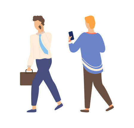 Man and woman speaking on telephone, isolated people. Vector female back view looking at smartphone and chatting, and businessman lead mobile conversation Illustration