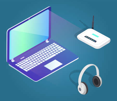 Collection of modern gadgets and equipments. Laptop with glowing screen and modem, big headphones. PC for work or education. Innovative technologies with wide monitor, vector in isometric style Ilustração