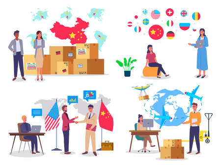 Set of people images, traders and buyers. World trade, China and US. Large packing boxes. Round flag badges. Satellite, airplane, cargo transportation. Transporter, logisticians, attract customers