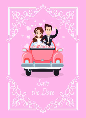 Wedding of man and woman vector, newlywed driving car to honeymoon, hearts and love, ornamental frame, bride and groom on special day happy couple