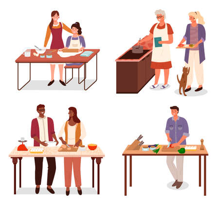 Collection of characters preparing food at home. Isolated man and woman baking. Mom teaches daughter to make dough. Granny and granddaughter cooking soup. Man preparing dishes for himself vector