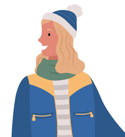 Portrait of female character in hat and jacket, scarf and warm jacket. Winter clothes of woman personage smiling and looking aside. Adult on cold season outdoors, isolated lady vector in flat