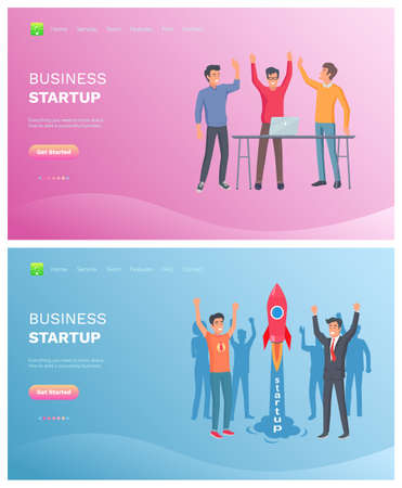Men winners, teamwork success, workers standing together with rising hands, strategy of company, technology and laptop, business startup vector. Website or webpage template, landing page flat style