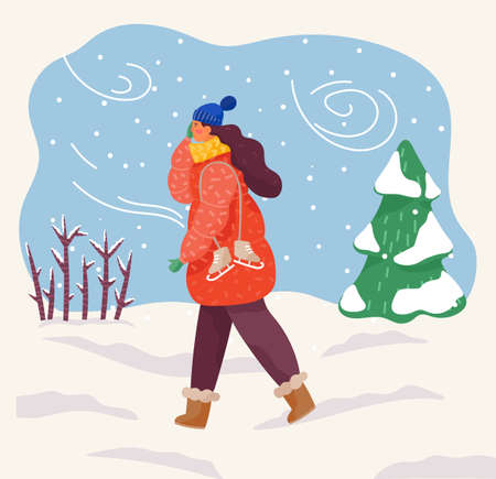 Female character wearing warm clothes hat and scarf returning home from skating rink. Blizzard snowfall and harsh wind blowing in forest. Pine tree covered with snow, wintry landscape vector