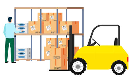 Man working in warehouse puts boxes on shelf. Logistic company worker in store. Mini car with loading option. Male and paper container with info on delivery details. Vector in flat style illustration