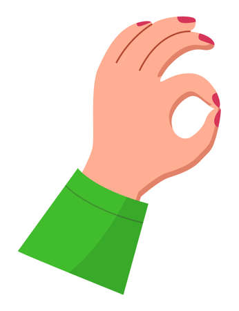 Image of elegant woman s hand shows OK gesture. Red nail polish, green dress sleeve. Good, delicious, fine or nice gesture. Young girl s arm. Piece of human body. Flat vector illustration on white