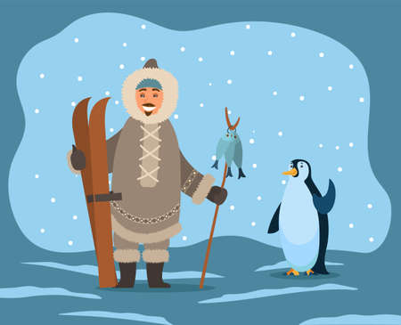 Eskimos wearing warm coat and clothes protection from frost and cold of winters. Inuit with skiing equipment and fish on stick. Penguin waving wing. Polar landscape with snowing weather vector
