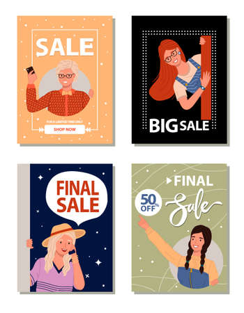Set of advertising slogans about sales, discounts, 50 off. Women are encouraged to shop. Market trick. Black Friday, weekend sale, best discount, special offer. Product promotion, sales increase