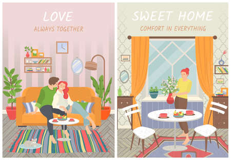 Sweet home vector, couple in love, spending time in house flat style. Interior of living room, lady with houseplant in kitchen. Sofa with pillows