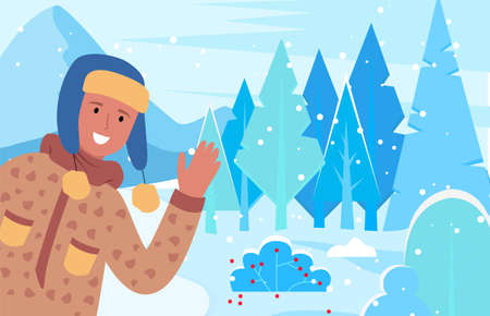 Man smile and greet winter holidays. Person walking on pathway in snowy wood alone. Guy dressed in warm hat and overcoat. Beautiful landscape during snowfall weather. Vector illustration in flat style