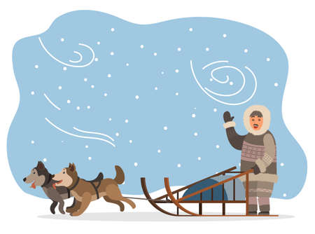 Eskimo wearing fur clothes and sleigh with husky dogs vector. Man hunter character waving hand, snow landscape with puppies and blizzard. Arctic expedition, riding sledge, frozen tundra illustration