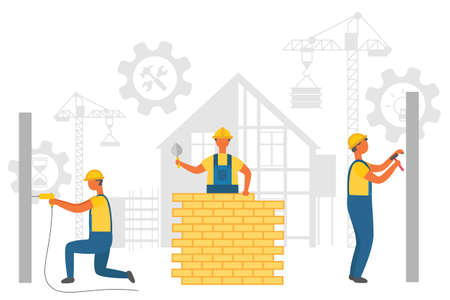 Repairers working with walls, drilling and nailing, laying bricks. Silhouette of hammer and wrench in bolt, crane and build, construction equipment vector