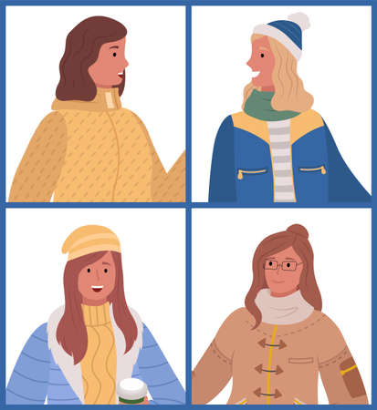 Collection of woman wearing warm clothes. Isolated female characters in winter jackets and hats with scarves smiling and looking aside. Girls spending time outdoors in cold season weather vector