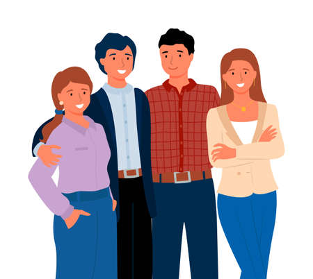 Group of people standing together, smiling man and woman embracing, portrait and closeup view of crowd in casual clothes, friends or relatives vector